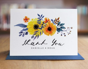 Personalized Thank You Note Card Set /  Watercolor Flowers Thank You Cards / Folded Shimmer Note Cards - T208