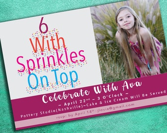 Personalized Creative Birthday Invitation, Six Years Old. Digital Download, Custom, Print at Home
