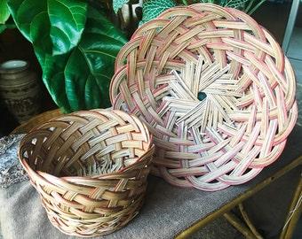 Vintage Rattan Basket and Bowl 2 piece Set