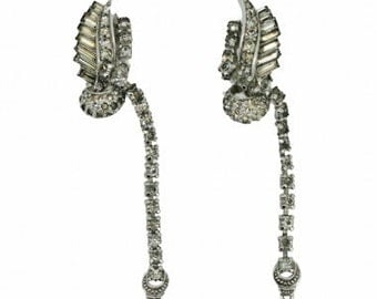 Pennino Brothers 1950s Silver Tone Feather Diamante Vintage Earrings