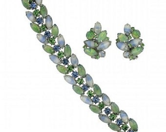 Kramer 1960s Blue and Green Rhinestone Vintage Jewellery Set
