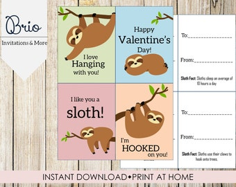 Sloth Printable Valentines, Instant Download