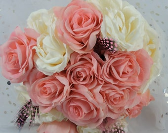 Wedding bouquet, bridesmaid bouquet, pink and ivory, keepsake, flower bouquet, handmade, romantic bouquet,brides maid bouquet, toss bouquet,