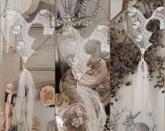 Vintage lace decoration hearts