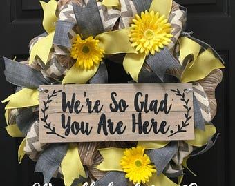 Spring welcome wreath, cheveron wreath, front door wreath, custom wreath, yellow and gray wreath, burlap wreath