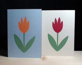6 Orange and Red Flower Cards