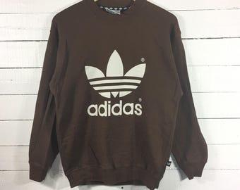 Rare!! ADIDAS Trefoil Crewneck Big Logo Spellout Medium Size Sweatshirt