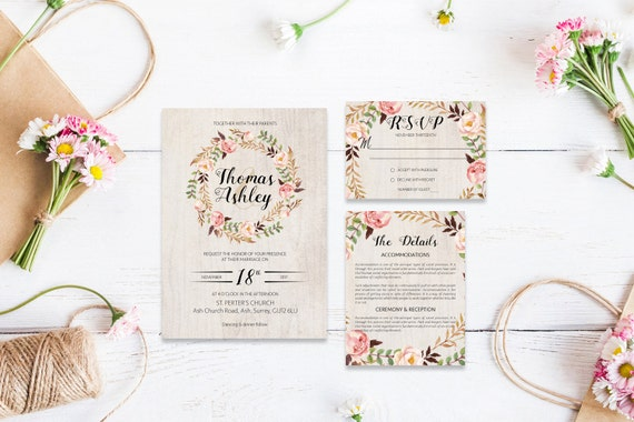 Flower wedding invite_14,Printable Wedding Invitation Suite,Wedding Invite Set,Wedding Printable,Calligraphy