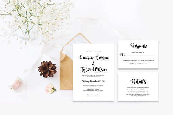 Elegant wedding invite_12,INSTANT DOWNLOAD, Editable Wedding template invitation. Microsoft Word template.Wedding Printable