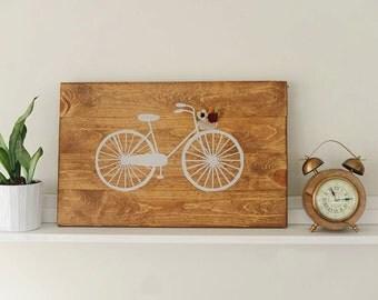 Wood Bicycle Sign / Felt flowers