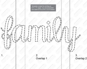 Family with hearts - string art template