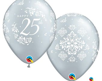 "Anniversary Balloons. 25th anniversary balloons, silver anniversary Balloons 11"" set of 6"