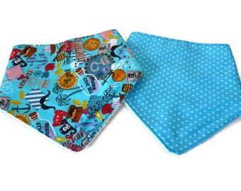 Set of 2 Baby boy bandana bib / Pirates Droll bibs / Stars Dribble bibs / Blue Scarf bib / baby shower gift / baby bibs Pirates and stars