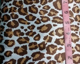 "Blue & Brown Jaguar Print Charmeuse Satin Fabric 58""W"" Wide"