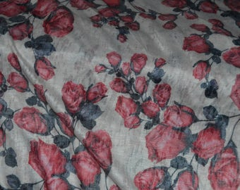 "Cream/Soft Red/Multi Floral Burnout Jersey Knit Fabric 58"" Wide BTY"