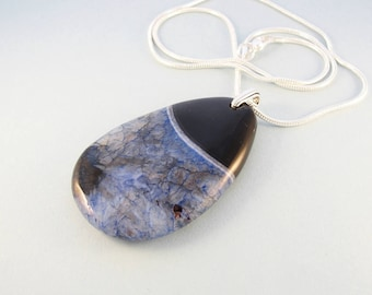 Black and blue stone necklace / blue druzy agate pendant / silver chain