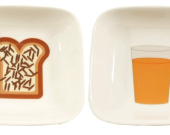 little orange juice and toast dishes