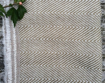 HOUSE OF BEULAH Herringbone Blanket & Throw - 100% Cashmere, Olive Gren