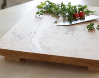 Extra Large Solid Maple Love Bird Cutting Board