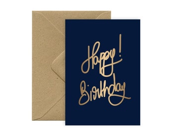 A6 card - Happy Birthday hot GOLD stamping