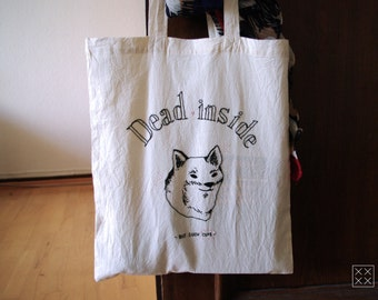 """Bag embroidered totebag """"Dead inside but such cute"""""""