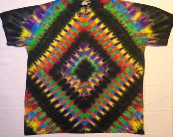 XL Organic Cotton Tie Dye T Shirt Mens Womens Short Sleeve T-Shirt Psychedelic Trippy Tiedye Tshirt Top Diamond Black Hole