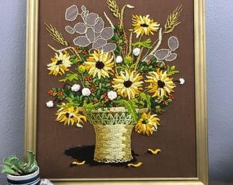 Floral Emrodery - Vintage Sunflowers Art