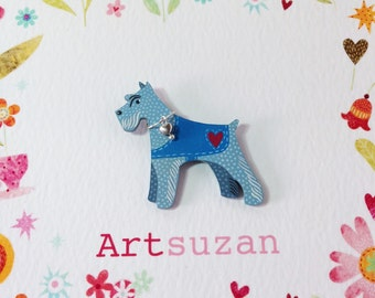 Handsome Terrier, Schnauzer dog brooch, hand painted in shades of blues with a red heart, wearing a silver tone heart charm collar.