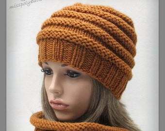 Womens Beehive knit hat - chunky hand knit hat - winter accessories - ribbed knit hat for woman