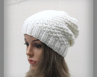Slouchy knit hat - Off white hat, slouchy beanie, womens hat, baggy hat, fall hat, winter hat for women