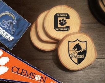 Customized Sports Team Wood Burned Coasters (Set of 4)