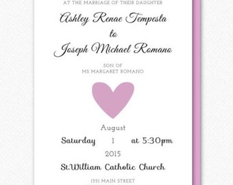 Wedding Invitation Set with Envelopes- 5 Cards or Buy Individual Card(s)