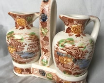 Ceramic oil and vinegar set, Mountain Woodland pattern from Nasco of Japan