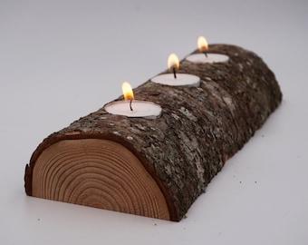 Half Log Triple Candle Holder