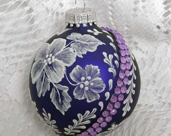 Purple Ornament. Hand-Painted Ornament. Mud Ornament. Glass Ornament.