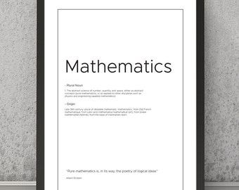 Mathematics definition print Mathematics typography print Mathematics print Mathematics poster Typography print Quote print, quote poster