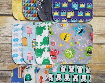 Double-Sided Flannel Cloth Wipes / Wash Cloths / Reusable Tissues / Eco-friendly Baby Wipes