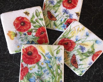 Poppies! Set of 4 Marble Coasters