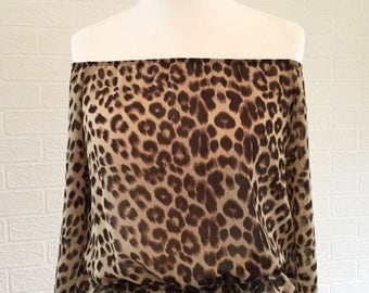 Leopard Print Chiffon Brown Top with Waterfall Sleeves/ Off the shoulder top/On the shoulder top/Retro Top/ UK Size 12-14/ 1990s Top