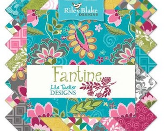 """Riley Blake Fantine Fabric Collection - 5"""" squares, 42 piece assortment"""