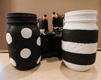 Black & White Mason Jar Set