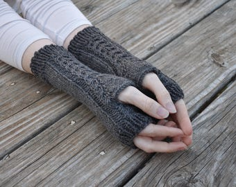 Hand knit cabled fingerless gloves, women's fingerless mitts, wool arm warmers, grey knit gloves, 100% superwash wool