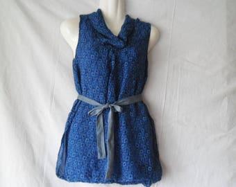 Vintage Silk Sleeveless BallonBlouse,Printed Blue  Blouse 90s,Wide Turtleneck Collar Blouse,Silk Vintage Printed Blue Summer Blouse