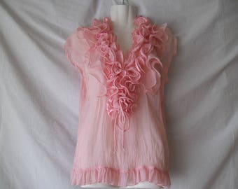 Vintage 90s Pink Ruffle Blouse, Romantic Sleeveless Sheer Summer Blouse,Womens Pink Ruffled Neck Blouse,Summer Party Sheer Blouse