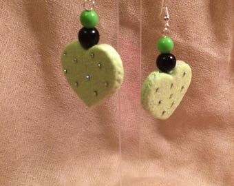 Fluorescent green heart earrings with Rhinestones