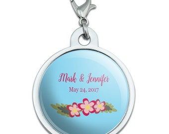 Floral Blue Background Wedding Shower Personalized Pet Id Tag
