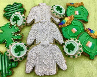 St. Patricks Day Cookies~ Pots of gold, shamrocks, 4 leaf clover, Blarney Wool Sweaters