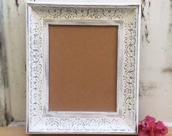 8x10 Ornate Picture Frame, Shabby Chic, Vintage Antique Style, White, Gold, Silver, Wedding, Wall Decor, Home, Nursery, Seating Chart, Sign