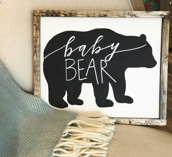 Baby bear wooden sign
