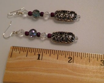 Crystal and Antiqued silver earrings